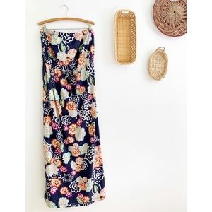 CAbi #629 Floral Maxi Dress Strapless Long Dress
